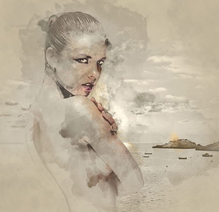 topless women: Digital watercolor painting of a naked woman against sea