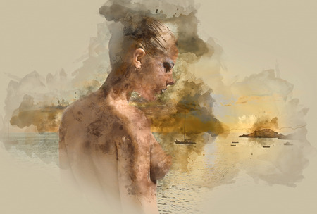 Digital watercolor painting of a naked woman against sea