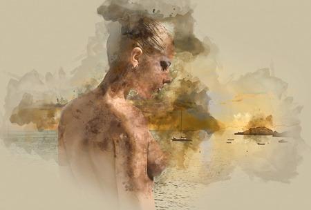 Peinture numérique d'aquarelle d'une femme nue contre la mer Banque d'images - 56564764