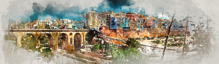 altered: Panorama of Villajoyosa  La Vila Joiosa town, digital watercolor painting. Costa Blanca. Province of Alicante, Spain Stock Photo