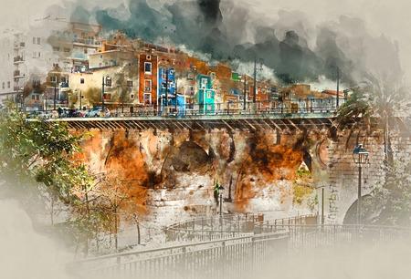 altered: Digital watercolor painting of Villajoyosa  La Vila Joiosa town, Costa Blanca. Province of Alicante, Spain Stock Photo