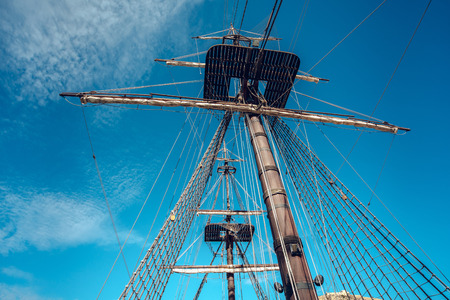 shrouds: Alicante, Spain- February 12, 2016: Detail of old spanish ship Santisima Trinidad in the port of Alicante. Ship is an exact replica of the Santisima Trinidad. It took over 2 years to build and cost more than 4 million Euros. Costa Blanca. Spain Editorial