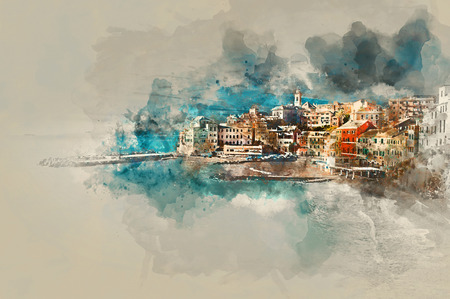 altered: Digital watercolor painting of Bogliasco. Bogliasco is ancient fishing village in Italy. Province of Genoa