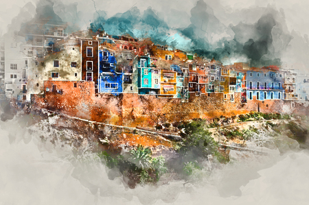 spanish landscapes: Digital watercolor painting of Villajoyosa town, Costa Blanca. Province of Alicante, Valencian Community, Spain