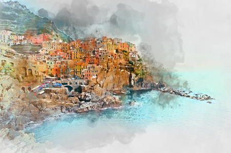 SEA  LANDSCAPE: Digital watercolor painting of Manarola. Manarola is a small town in the province of La Spezia, Liguria, northern Italy.