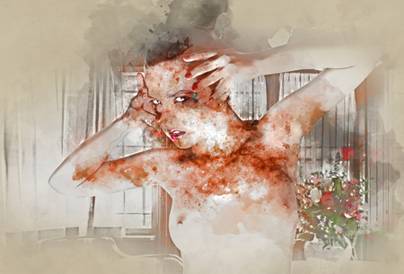 naked woman: Digital watercolor painting of a naked woman