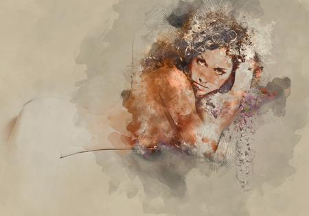 nude young: Silhouette of a naked woman. Digital watercolor painting Stock Photo