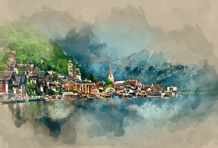 austria: Hallstatt village, oldest village in Austria. Digital watercolor painting
