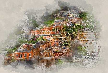 Peinture à l'aquarelle numérique de Positano. Positano est une petite ville pittoresque sur la célèbre côte d'Amalfi en Campanie, en Italie. Banque d'images - 56640642