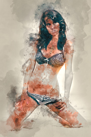 Digital watercolor painting of a woman in lingerie photo