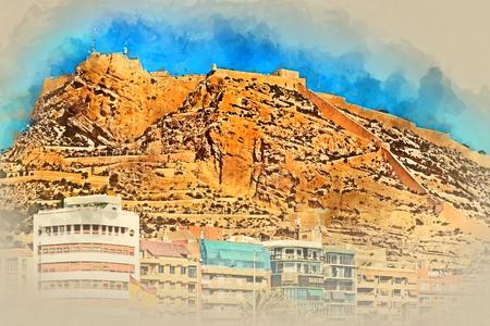 altered: Digital watercolor painting of a Mount Benacantil with a Castle of Santa Barbara (Castillo de Santa Barbara)- fortification in the centre of Alicante city. Valencian Community, Costa Blanca. Spain Stock Photo