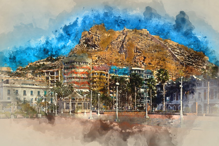 fortification: Digital watercolor painting of a Mount Benacantil with a Castle of Santa Barbara (Castillo de Santa Barbara)- fortification in the centre of Alicante city. Valencian Community, Costa Blanca. Spain Stock Photo
