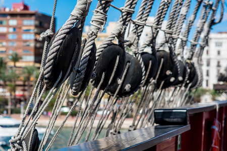 rigging: Ship shrouds,  Santisima Trinidad in the port of Alicante. Costa Blanca. Spain