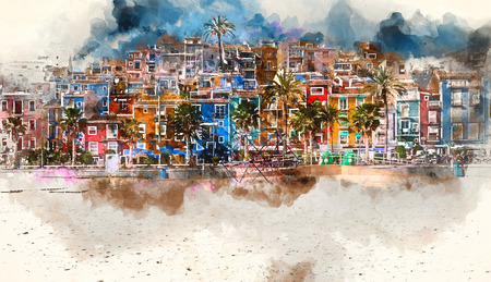 Villajoyosa skyline. Digital watercolor painting of Villajoyosa town, Costa Blanca. Province of Alicante, Valencian Community, Spain