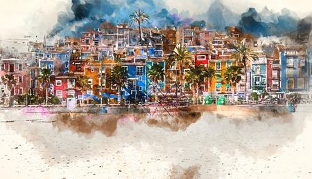 famous paintings: Villajoyosa skyline. Digital watercolor painting of Villajoyosa town, Costa Blanca. Province of Alicante, Valencian Community, Spain