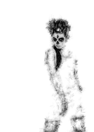 digitally generated image: Silhouette of a Day of the dead girl with sugar skull makeup over white. Digitally generated image Stock Photo