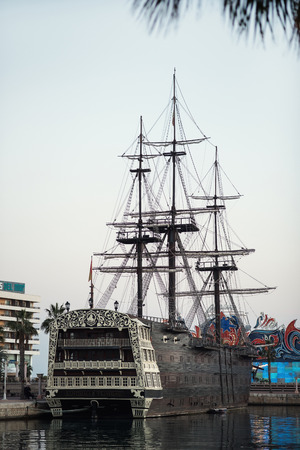 shrouds: Alicante, Spain- February 24, 2016: Ship Santisima Trinidad in the port of Alicante. Ship is an exact replica of the Santisima Trinidad. It took over 2 years to build and cost more than 4 million Euros. Costa Blanca. Spain Editorial