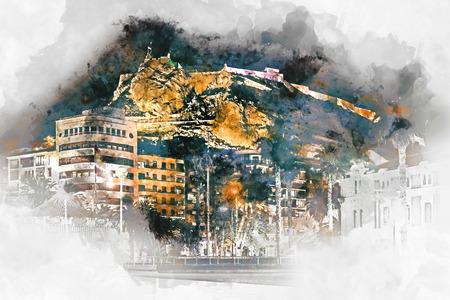 watercolor painting: Digital watercolor painting of a Mount Benacantil with a Castle of Santa Barbara (Castillo de Santa Barbara)- fortification in the centre of Alicante city. Valencian Community, Costa Blanca. Spain Editorial