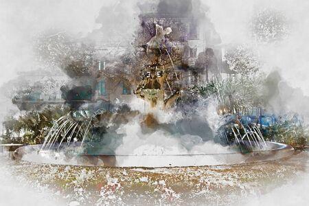 famous painting: Plaza Gabriel Miro fountain. Digital watercolor painting