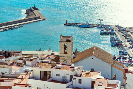 valencian: Peniscola harbor, view from the Castillo del Papa Luna. Costa del Azahar, province of Castellon, Valencian Community. Spain
