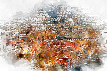 del: Digital watercolor painting of Peniscola city, Costa del Azahar, province of Castellon, Valencian Community. Spain