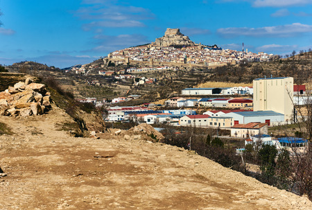gothic heart: Breathtaking view of Morella. Morella is an ancient gothic city located on a hill-top in the province of Castellon, Valencian Community, Spain. Morella is in the heart of the historic region of Meastrazgo, and it is listed as one of the most beautiful tow Editorial