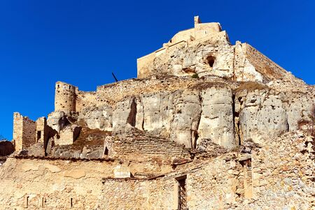 monument historical monument: Castle of Morella, province of Castellon, Valencian Community, Spain. Morella Castle was declared a monument of artistic and historical importance.