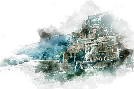 pintura de acuarela digital de la localidad de Miravet. Provincia de Tarragona. España. Miravet es uno de los pueblos con más encanto en Cataluña Foto de archivo