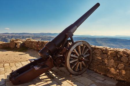 Canon on the castle of Morella, province of Castellon, Valencian Community, Spain Stock Photo