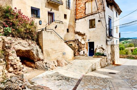 Ancient houses of Miravet village. Province of Tarragona. Spain