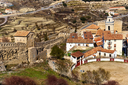 bullring: Bullring in Morella and surrounding countryside. Province of Castellon, Valencian Community, Spain.
