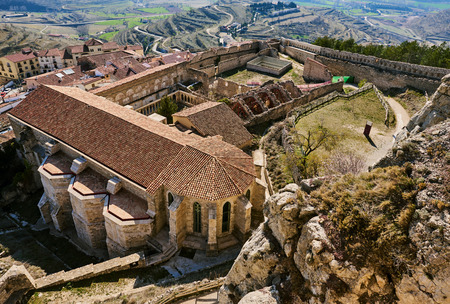 monument historical monument: Castle of Morella. Morella Castle was declared a monument of artistic and historical importance. Province of Castellon, Valencian Community, Spain. Stock Photo