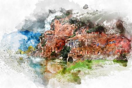 Cyfrowa akwarela wsi Miravet. Prowincja Tarragona. Hiszpania. Miravet jest jednym z najbardziej urokliwych miejscowości w Katalonii