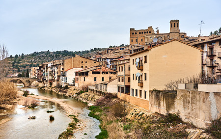 ebro: Valderrobres village, known as one of the most beautiful village in Spain. Stock Photo