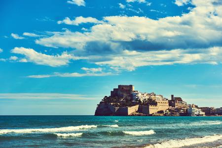 LUNA: Peniscola castle (Castillo del Papa Luna), view from the beach. Costa del Azahar, province of Castellon, Valencian Community. Spain