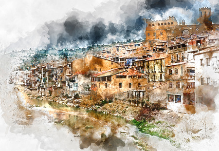 fortification: Digital watercolor painting of Valderrobres village, known as one of the most beautiful village in Spain