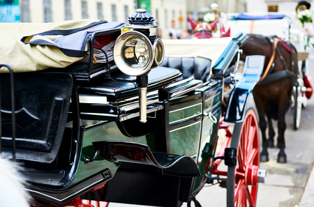 Part of a horse-drawn carriage (Fiacre) in the old city in Vienna, Austria