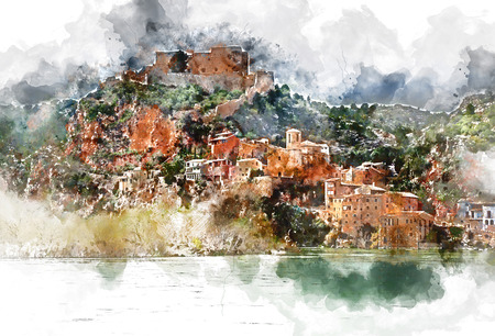 Digital watercolor painting of Miravet village. Miravet is one of the most charming village in Catalonia. Province of Tarragona, Spain.