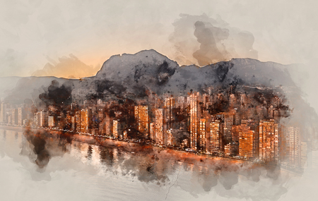 beach scene: Digital watercolor painting of a Benidorm city at sunset. Costa Blanca, Alicante province. Spain.