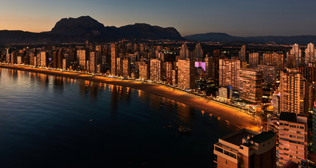 Aerial view of a Benidorm coastline. Illuminated skyscrapers at night. Costa Blanca, Alicante province. Spain Stock Photo