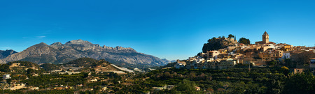 Panorama of spanish hillside village Polop de la Marina. Province of Alicante, Costa Blanca. Spain