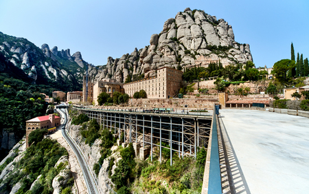 Spectacular Montserrat mountains and Benedictine monastery of Santa Maria de Montserrat, near Barcelona. Spain