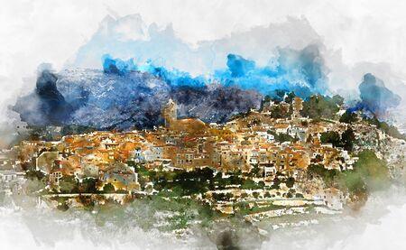 valencia: Digital watercolor painting of a spanish village Polop de la Marina. Province of Alicante, Costa Blanca. Spain