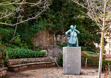 composers: Montserrat, Spain - April 06, 2016: Statue of Pablo Casals. Pablo Casals was regarded as one of the greatest cello players and composers of the twentieth century. Spain