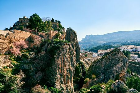 Guadalest castle on a rock. Guadalest is a small village on the Costa Blanca, the most visited village in Spain Stock Photo