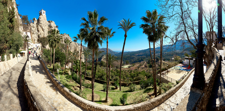 monument historical monument: Panoramic view of the road up to mountain of Guadalest. Guadalest is a small village on the Costa Blanca. Guadalest has been declared a Monument of Historical and Artistic Value and is a major tourist attraction in Spain