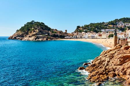 Waterside view of a Vila Vella, the oldest part of the town of Tossa del Mar, Costa Brava, Catalonia, Spain Foto de archivo