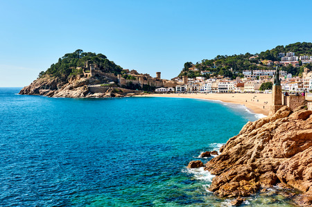 Waterside view of a Vila Vella, the oldest part of the town of Tossa del Mar, Costa Brava, Catalonia, Spain Stock Photo