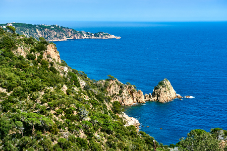 Rocky seaside of Cala Salionc, Tossa de Mar. Costa Brava, Spain