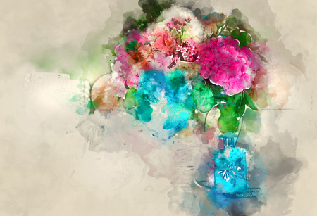 altered: Colorful bouquet of flower. Digital watercolor painting Stock Photo